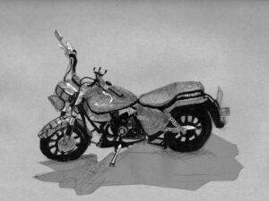 הדפס של רישום של אופנוע שצויר בחודש אוגוסט על נייר אמנות