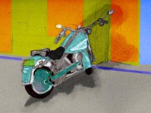 הדפס של רישום של אופנוע תכלכל עיבוד דיגיטלי על נייר אמנות