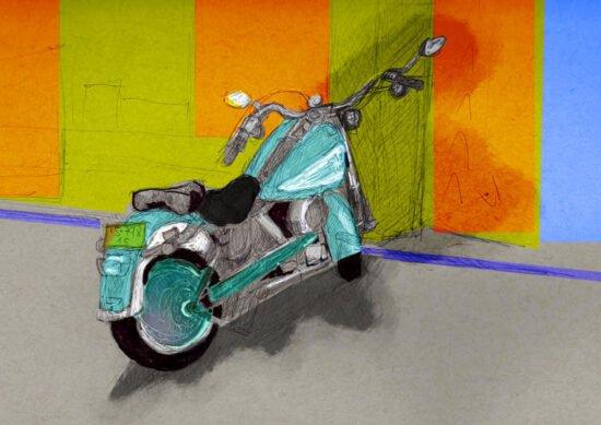 אופנוע תגלגל צבוע