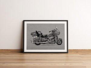 הדפס של רישום של אופנוע הארלי דוידסון רוד-קינג קלאסיק על נייר אמנות