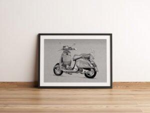 הדפס של רישום של אופנוע וספה על נייר אמנות