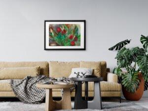 ורדים עם ליליות סגורות הדפס אמנות מציור אקוורל מקורי