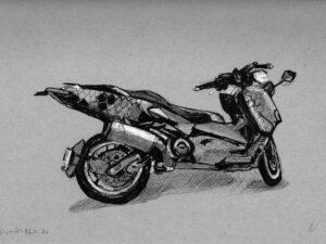 הדפס של רישום של קטנוע כוורת על נייר אמנות