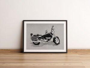 """הדפס של רישום של אופנוע ראשל""""צי מס 1 על נייר אמנות"""