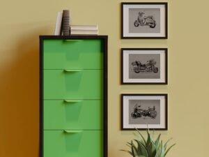 סט אופנועים קלאסי: וספה, אופנוע הארלי דוידסון רוד קינג קלאסיק ואופנוע אינדיאן. שלושה הדפסים