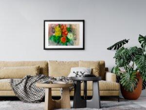 זר אהוב, גרברות ופרחי ליזיאנטוס. הדפס אמנות מציור אקוורל מקורי