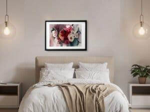 זר ורדים סימטרי. הדפס אמנות מציור אקוורל מקורי