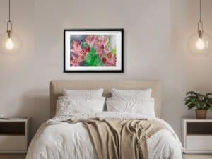 זר ליליות הדפס אמנות מציור אקוורל מקורי