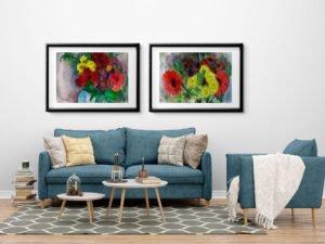 שני הדפסים של גרברות אדומות וחרציות. סט הדפסים מושלם מציורי אקוורל מקורי.