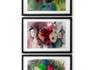 סט ורדים סימטרי. הדפסי אמנות מציורי אקוורל מקוריים