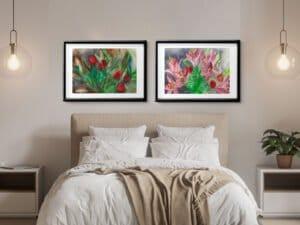 שני הדפסים של ליליות סגורות וורדים וליליות פתוחות. סט הדפסים מושלם מציורי אקוורל מקורי.