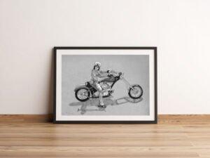 הדפס של רישום של אופנוען משכונת רמז על נייר אמנות