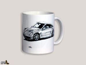 כוס מאוירת של מכונית פורשה