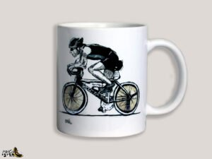 כוס מאוירת של רוכב אופניים.