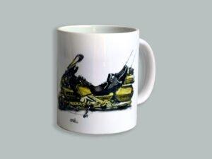 כוס מאוירת של אופנוע הונדה גולדוינג. הסדרה הצבעונית